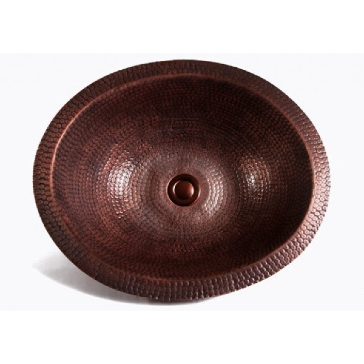 Oval Natural Coffee Hand Hammered Finish Copper Undermount Drop In Bathroom Sink 17 X 14 5 1 2 Inch