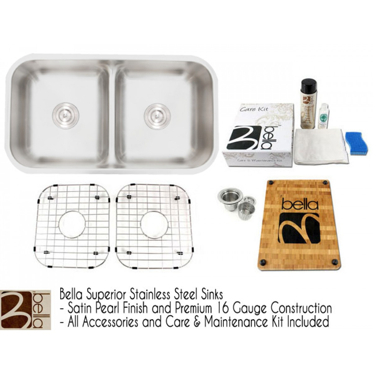 Bella 33 Inch Premium 16 Gauge Low Dam Divider 50/50 Double Bowl Kitchen  Sink With FREE ACCESSORIES