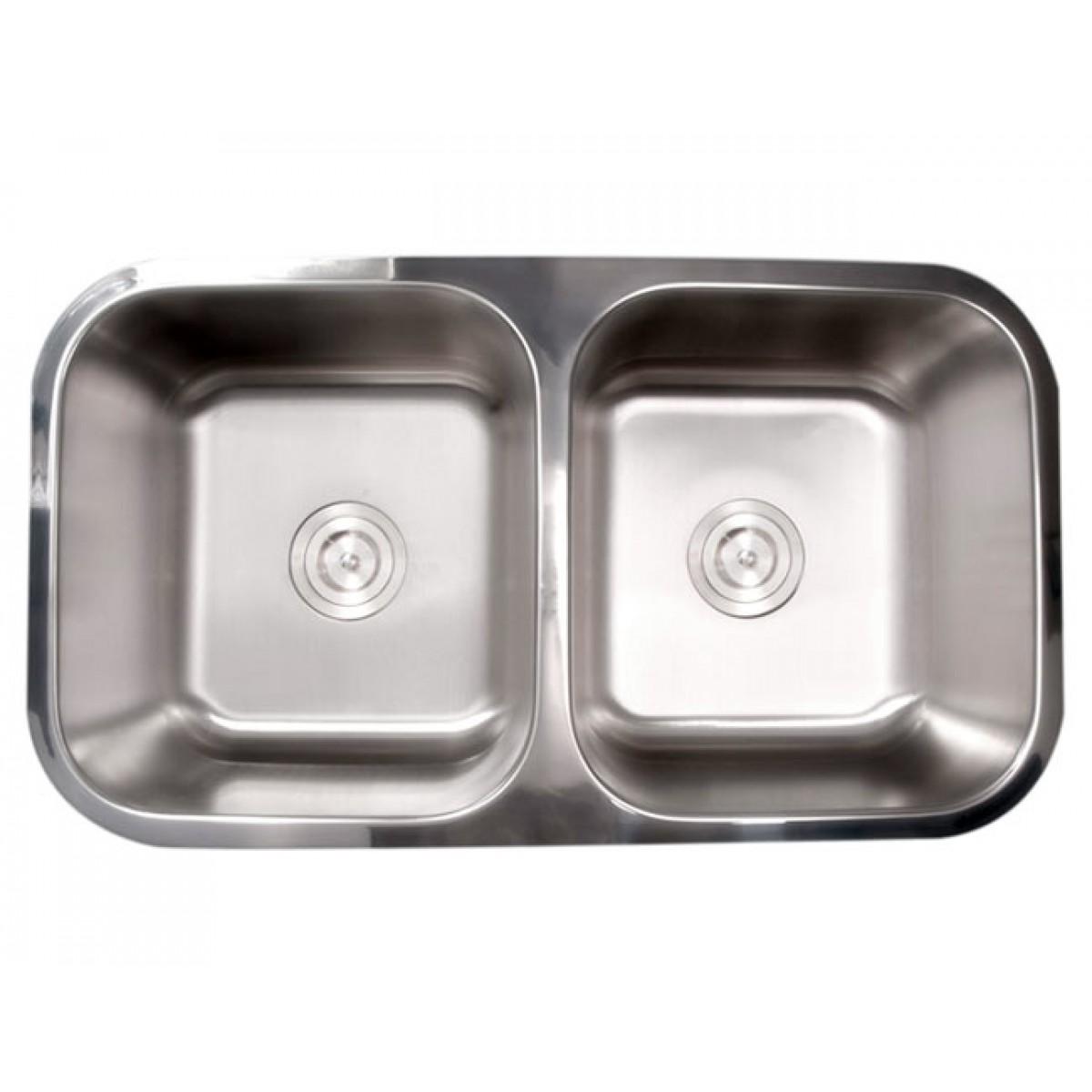 Bella 32 Inch Stainless Steel Undermount 50/50 Double Bowl Kitchen ...
