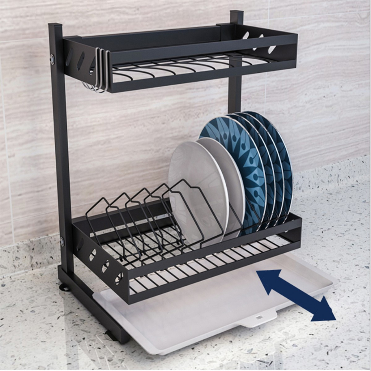 2 Tier Black Stainless Steel Bowl And Dish Drying Rack