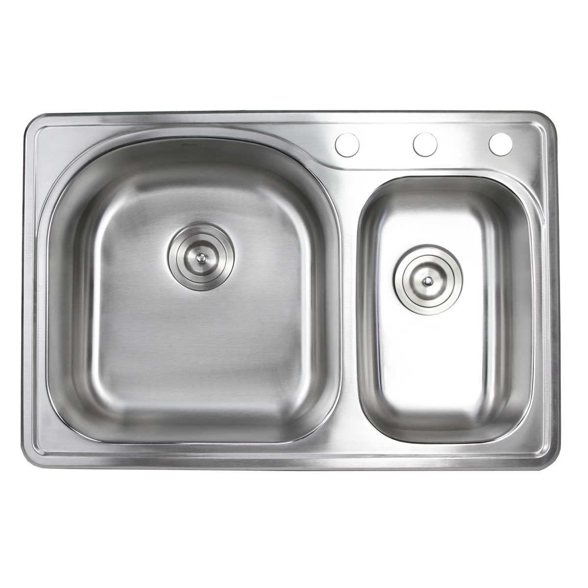 33 Inch Top-mount / Drop-in Stainless Steel 70/30 Double Bowl Kitchen Sink  With 3 Faucet Holes - 18 Gauge with Accessories