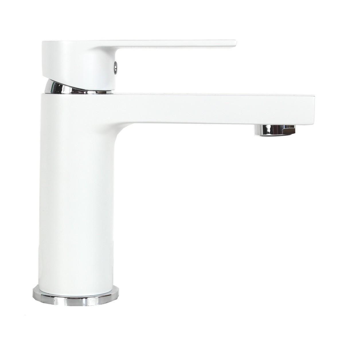Anna Matte White Chrome Handle Bathroom Vessel Sink Single Hole Faucet