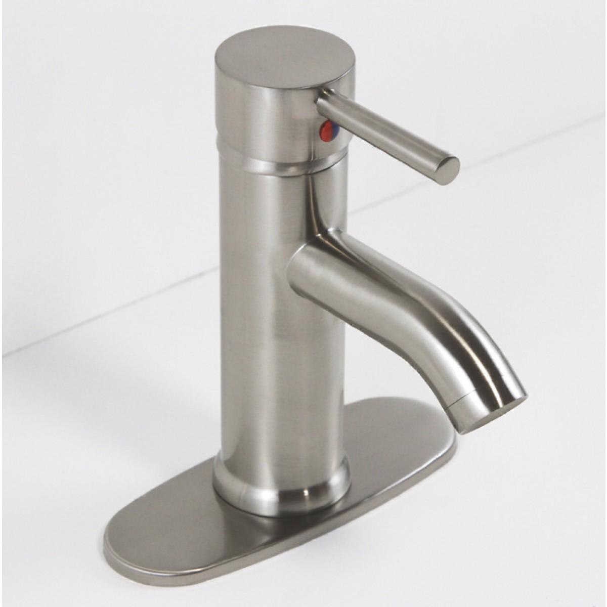 Brushed Nickle Finish Bathroom Vessel Sink Faucet Hole
