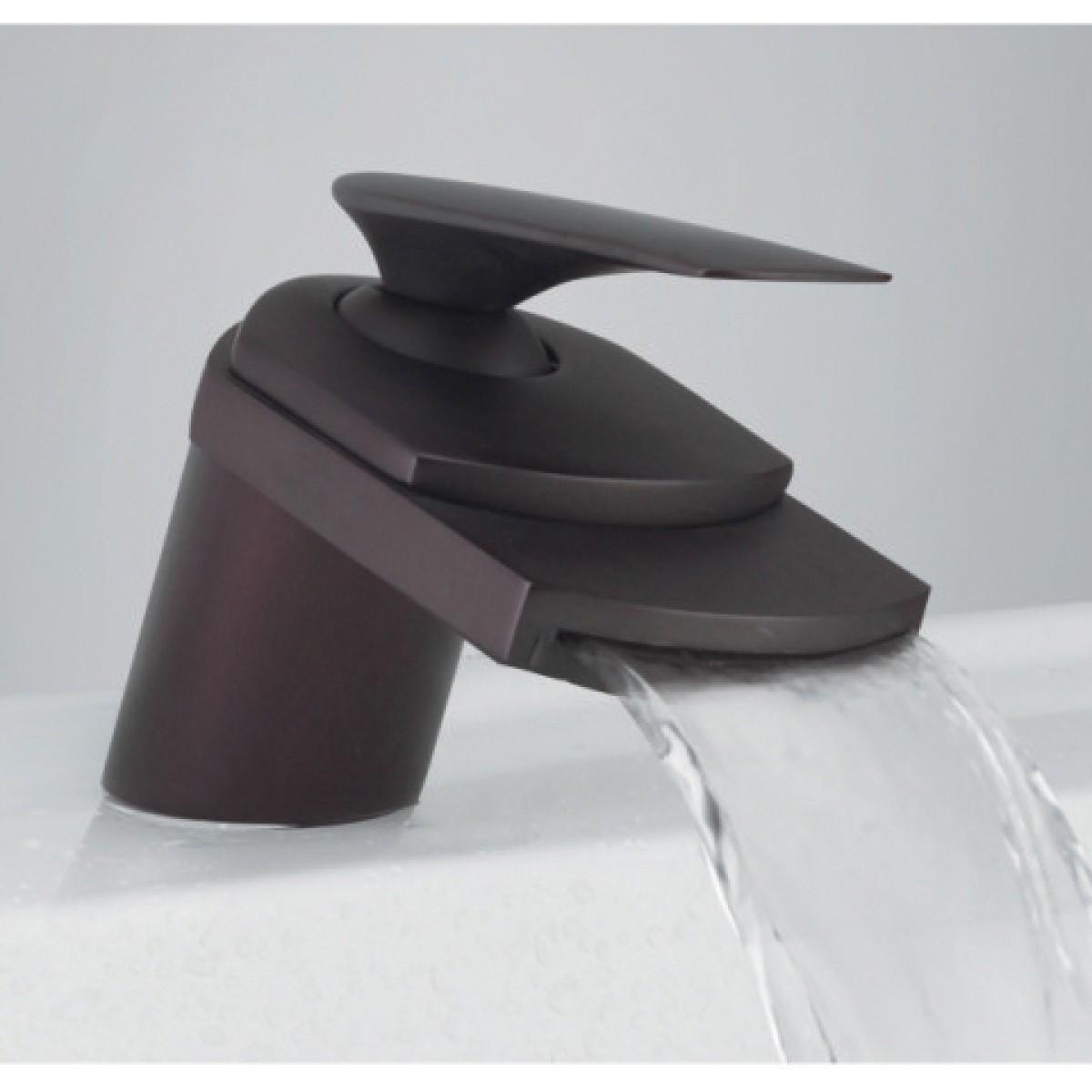 Venetian Bronze Waterfall Flat Spout Single Hole Bathroom Faucet - 5 ...