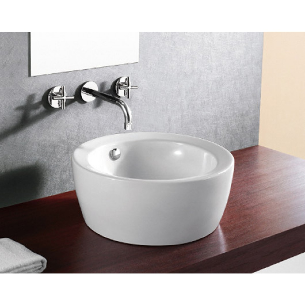 Round Porcelain Ceramic Countertop Bathroom Vessel Sink