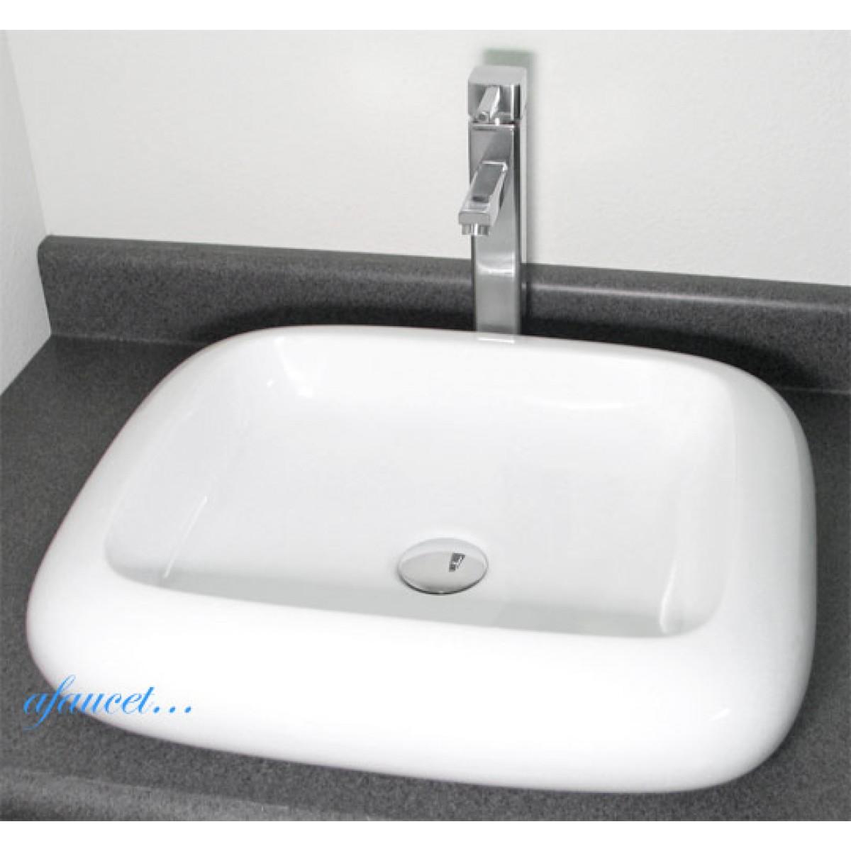 Rounded Edge Rectangular Porcelain Ceramic Countertop Bathroom Vessel Sink 22 X 19 Inch