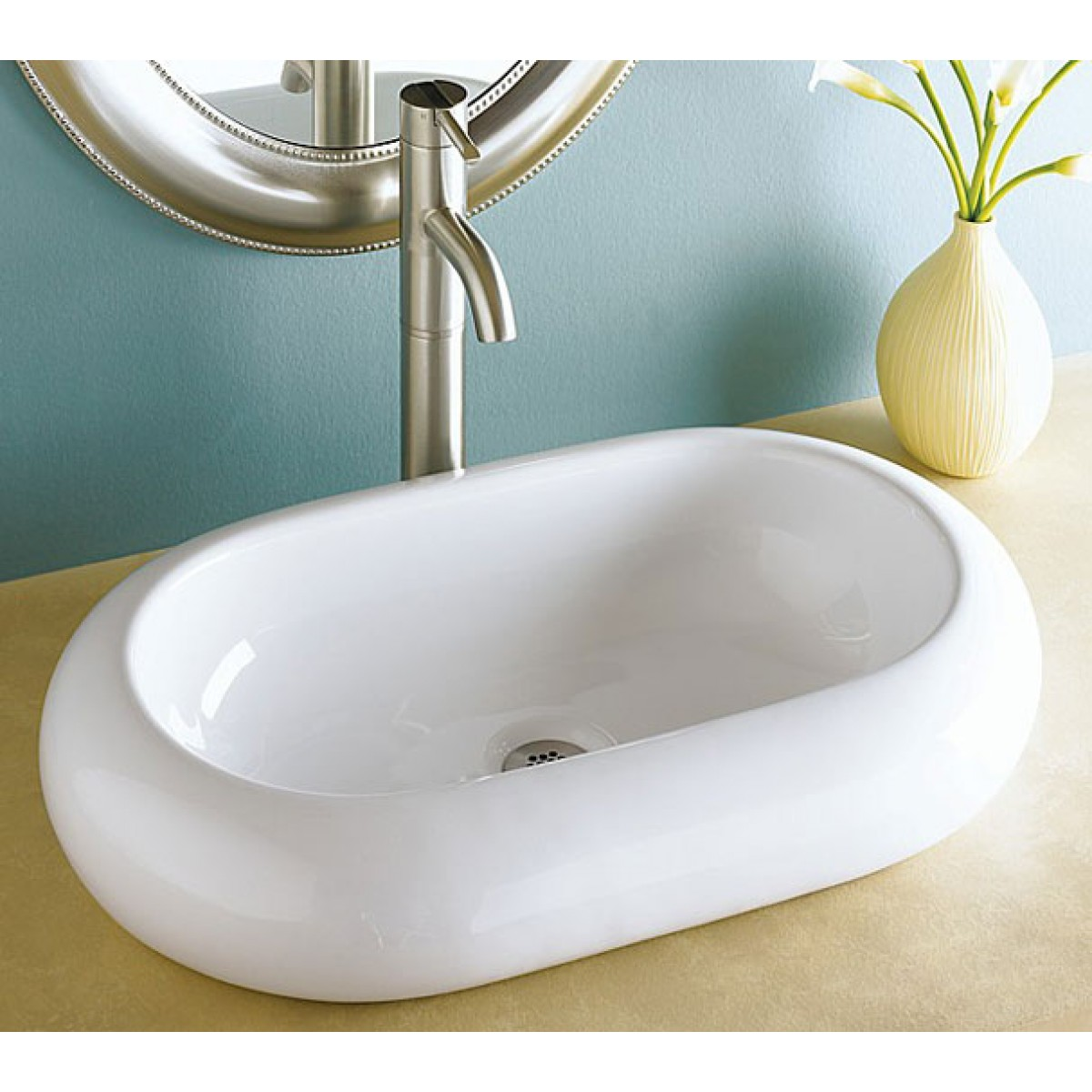 Rounded Edge Oval Porcelain Ceramic Countertop Bathroom