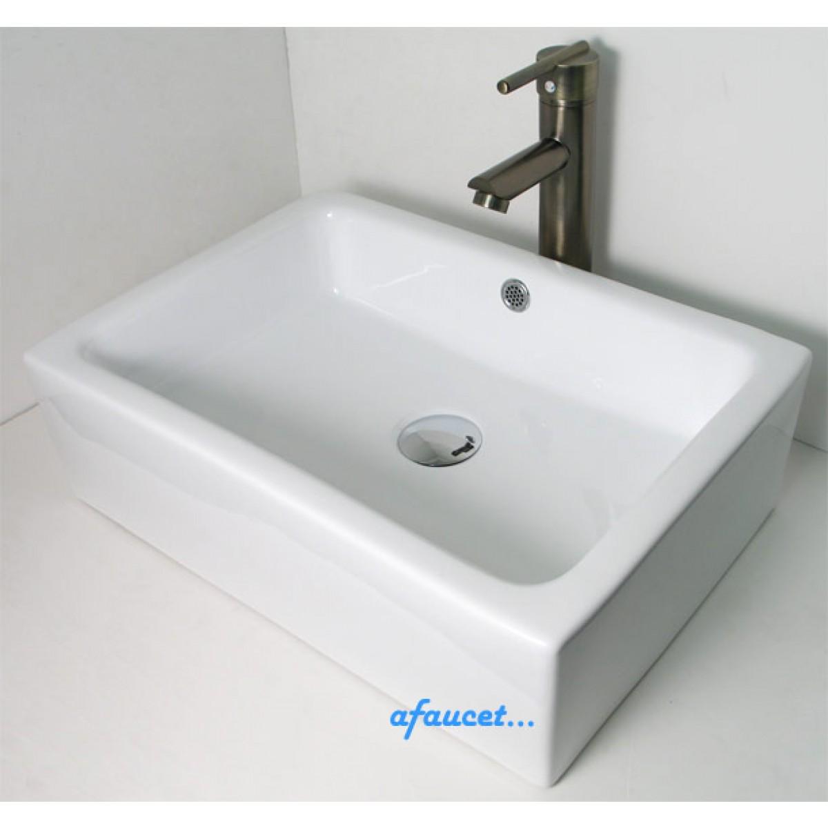 Rectangular White Black Porcelain Ceramic Bathroom Vessel Sink 20 X 14 5 Inch