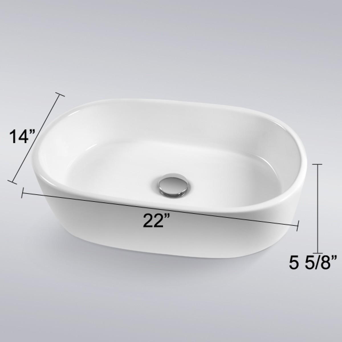 European Style Oval Shape Porcelain Ceramic Bathroom Vessel Sink