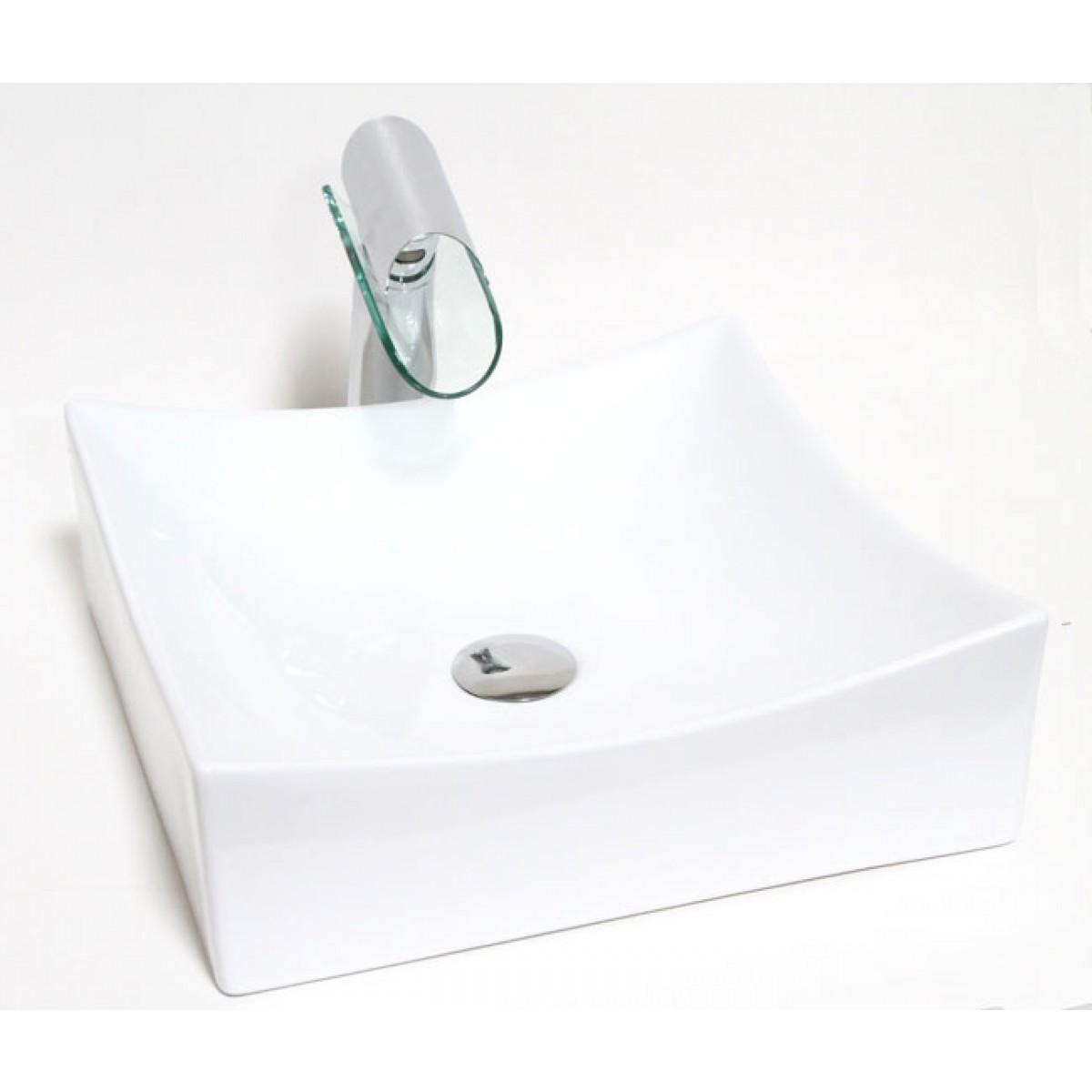 European Style Square Porcelain Ceramic Countertop Bathroom Vessel Sink 15 1 2 X 5 Inch
