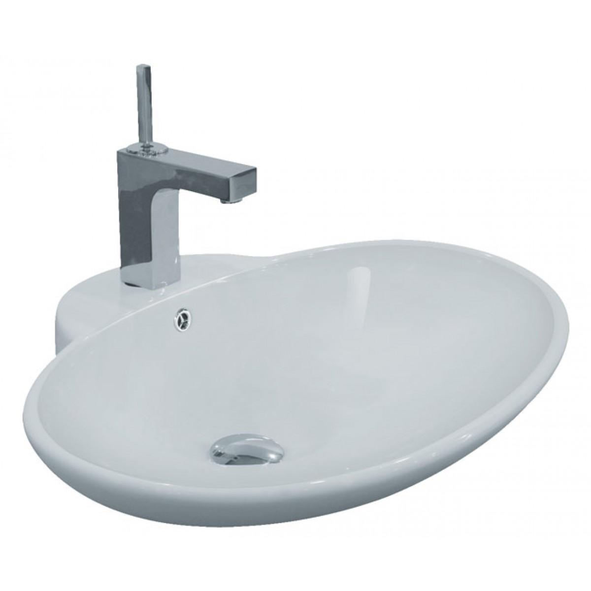Porcelain Ceramic Single Hole Countertop Bathroom Vessel Sink   24 3/4 X 19 1/4  X 8 Inch
