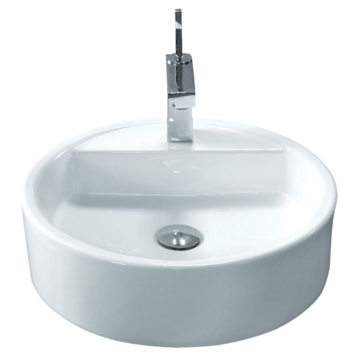 Round Porcelain Ceramic Single Hole Countertop Bathroom Vessel Sink ...