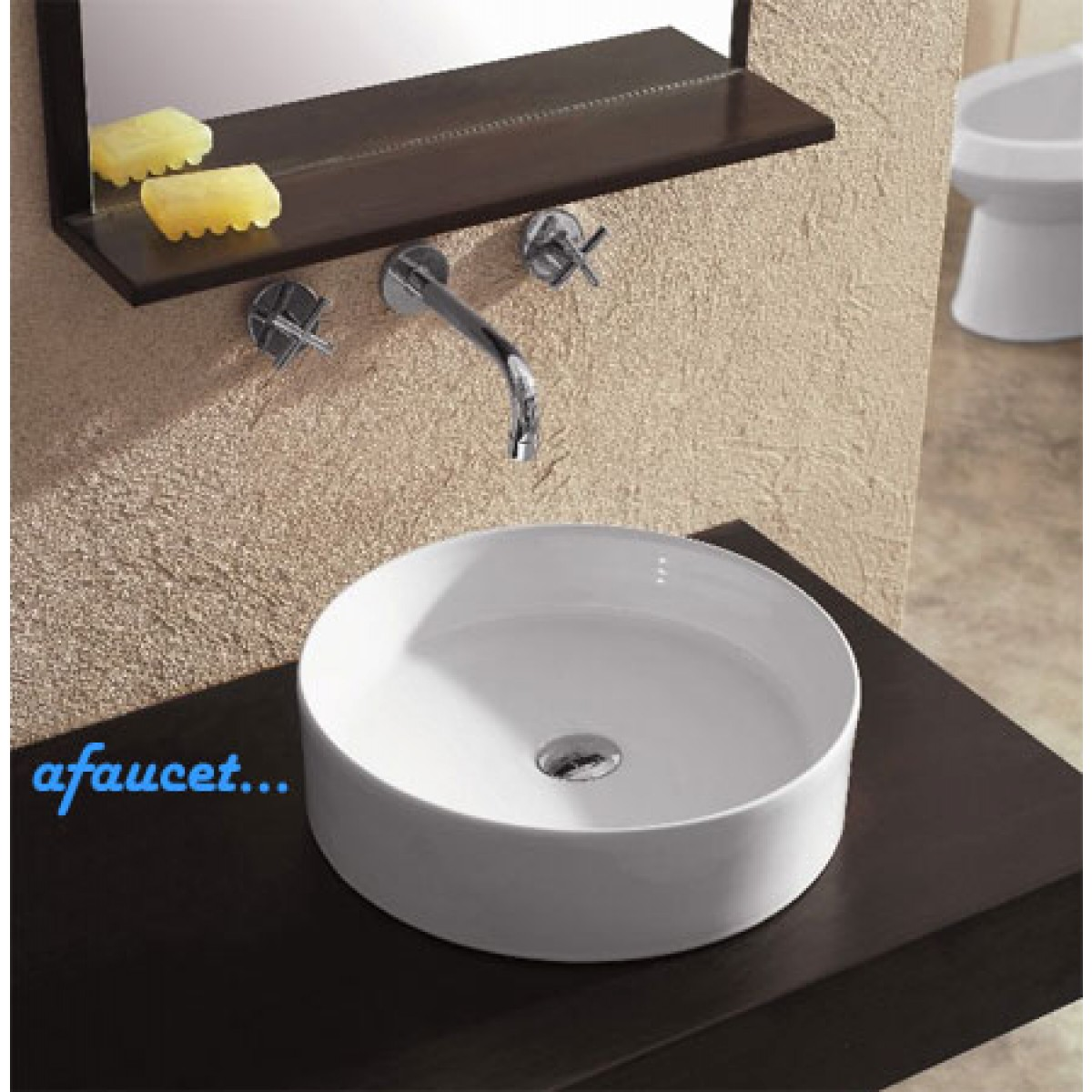 Perfect Round European Design White / Black Porcelain Ceramic Countertop Bathroom Vessel  Sink   18 1/8 X 6 1/8 Inch