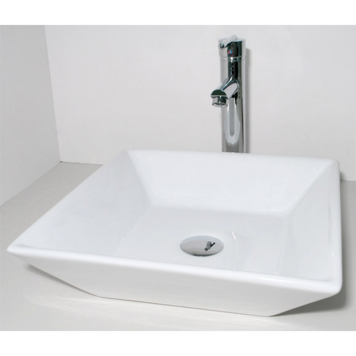 European Design Slope Wall Porcelain Ceramic Countertop Bathroom Vessel Sink - 16 x 16 x 4-1/2 Inch