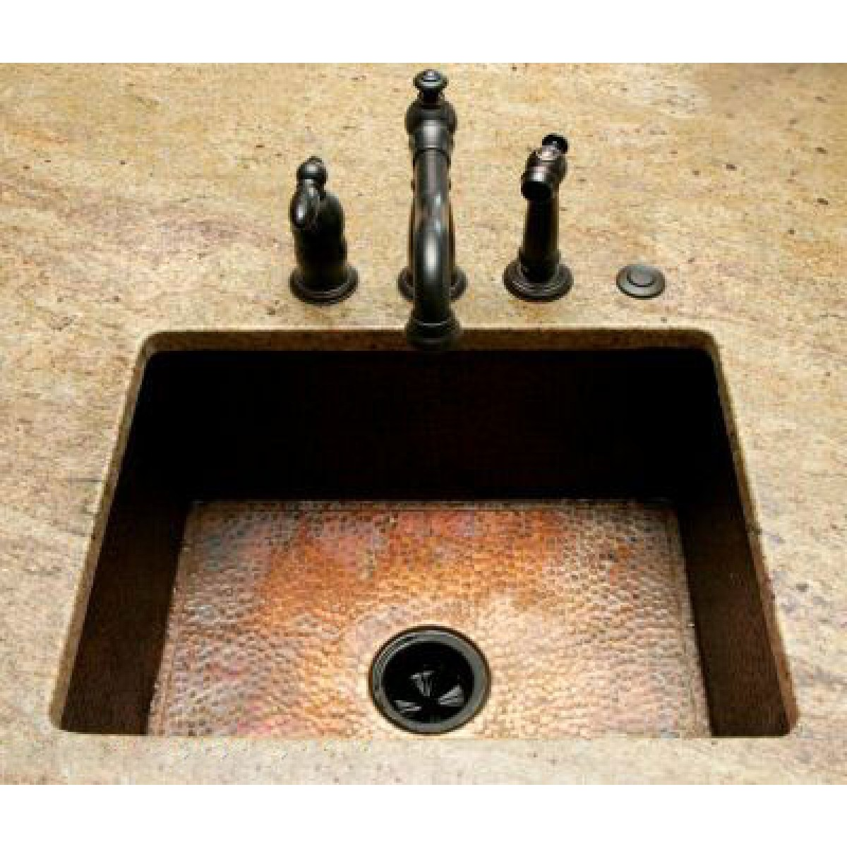 Natural Coffee Hand Hammered Finish Copper Undermount Drop In