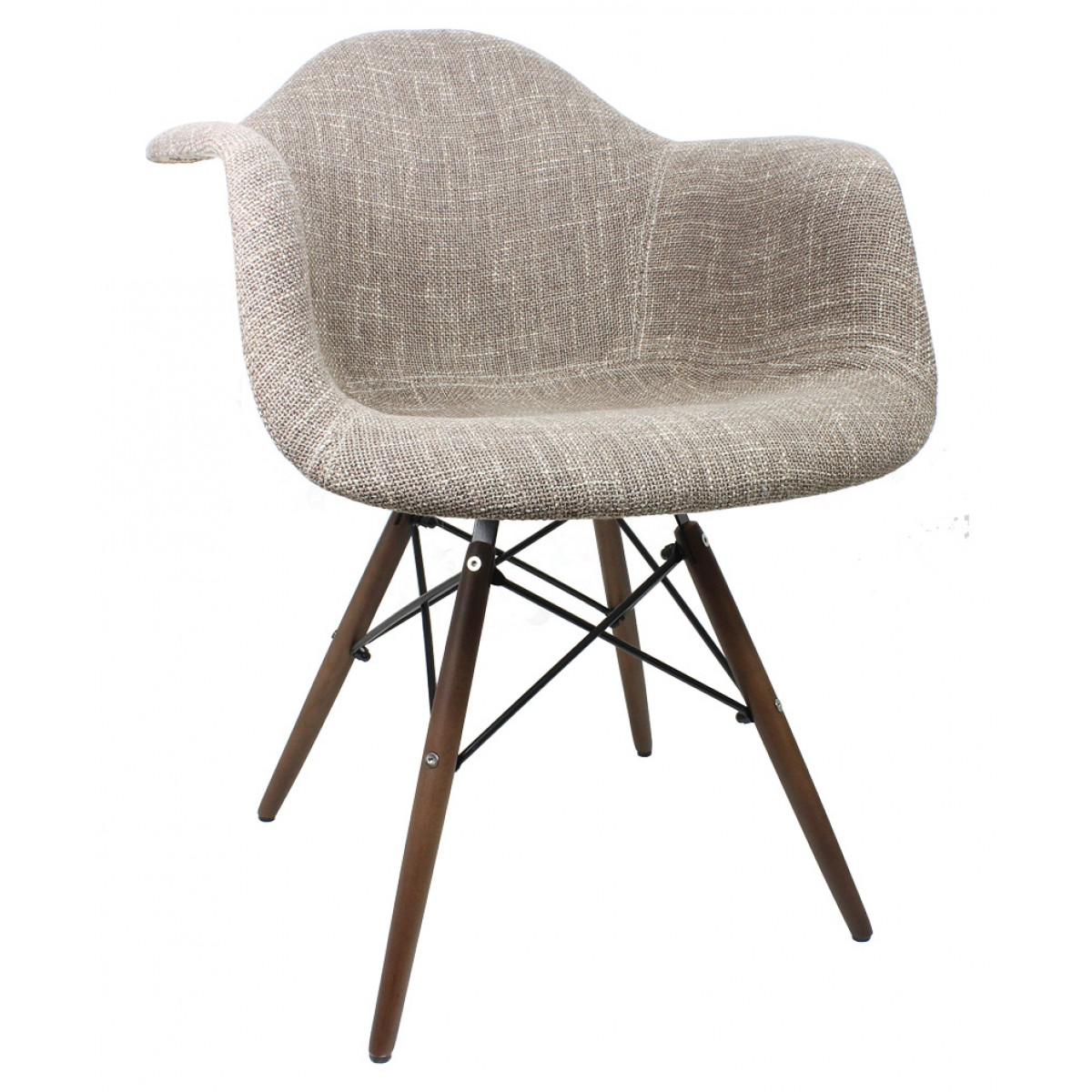 Delicieux Brown Woven Fabric Accent Arm Chair With Dark Walnut Wood Eiffel Legs