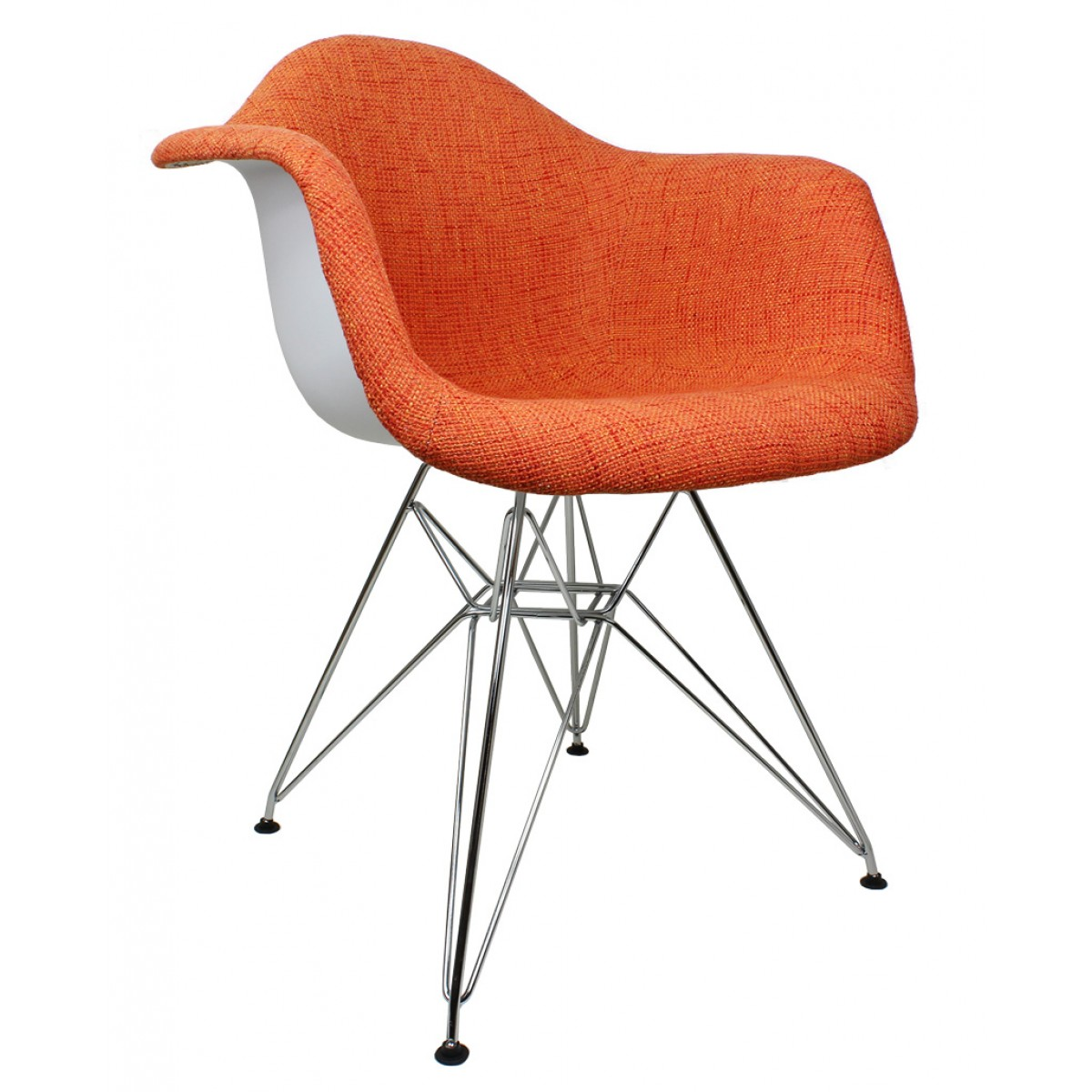 Charmant Orange Woven Fabric Accent Arm Chair