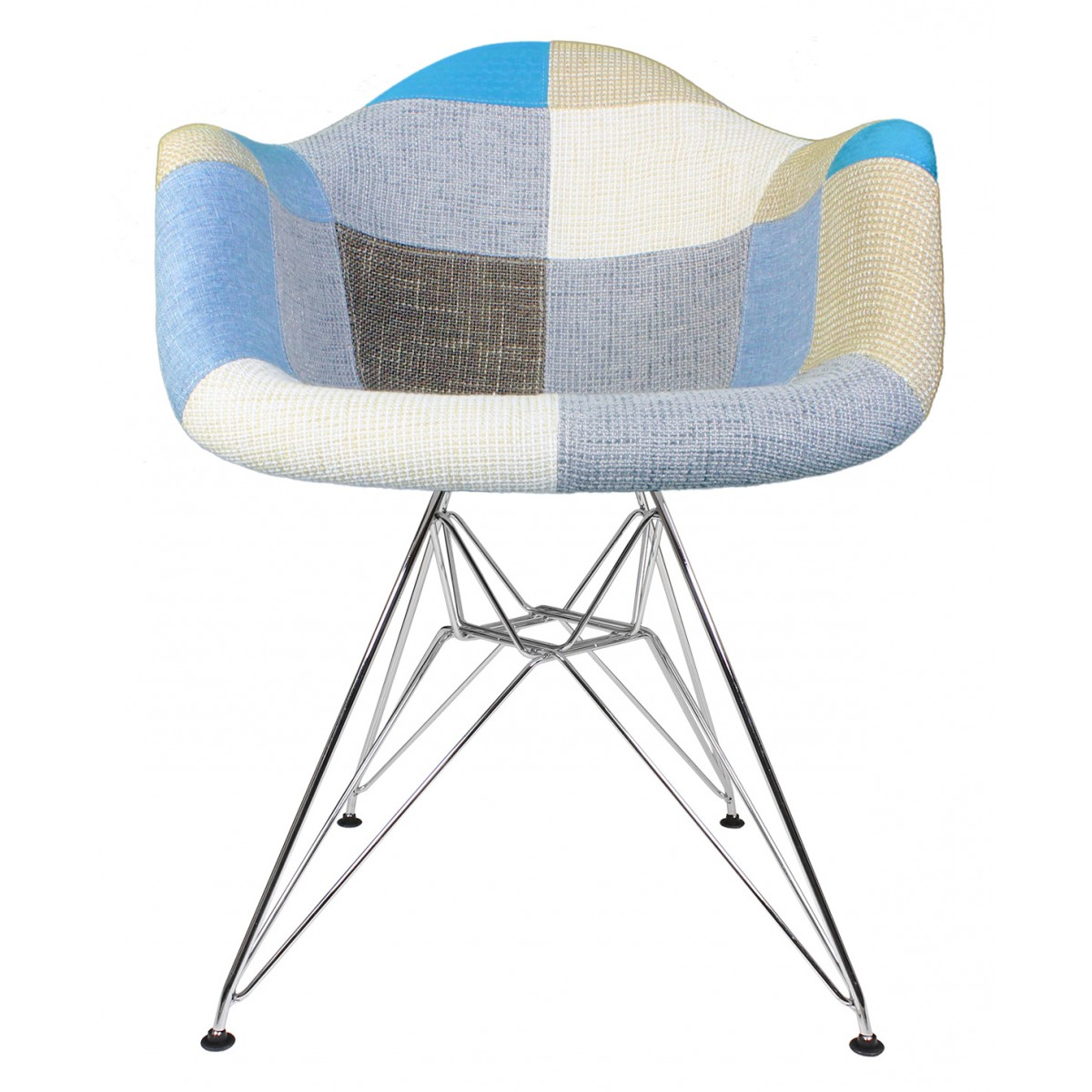 Enjoyable Patchwork Fabric Upholstered Mid Century Eames Style Accent Arm Chair With Steel Eiffel Legs Cjindustries Chair Design For Home Cjindustriesco