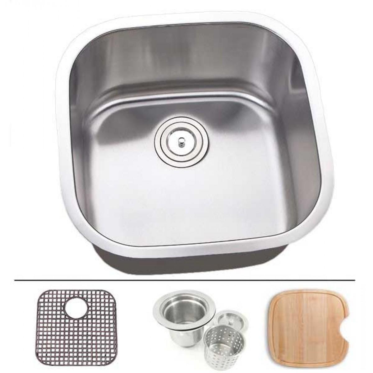 20 Inch Stainless Steel Undermount Single Bowl Kitchen Sink - 16 ...
