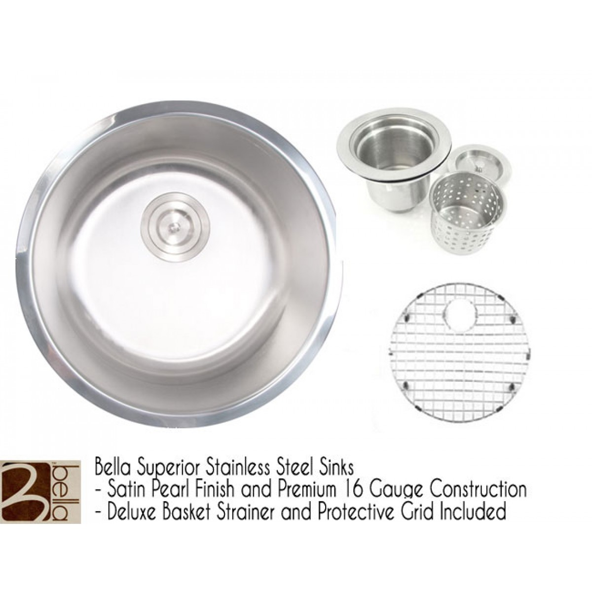 Bella 18 Inch Premium 16 Gauge Stainless Steel Undermount Single Bowl  Kitchen / Bar / Prep Sink Round with FREE ACCESSORIES