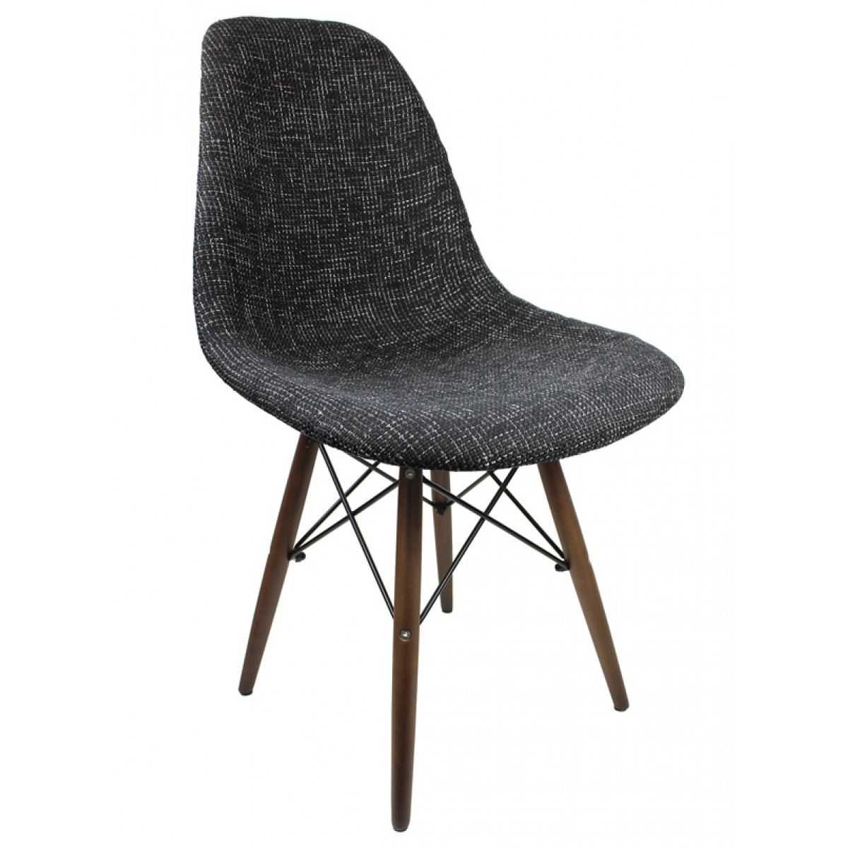 Black Fabric Upholstered Eames Style Accent Chair With