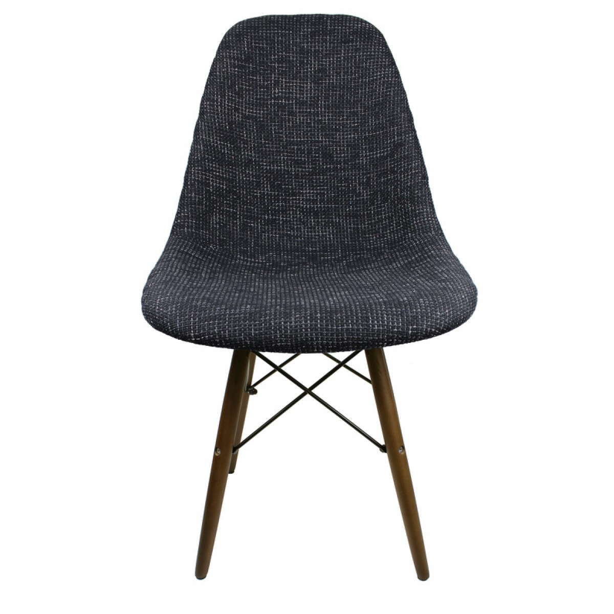 Black Fabric Upholstered Accent Chair With Dark Walnut Wood Eiffel Legs
