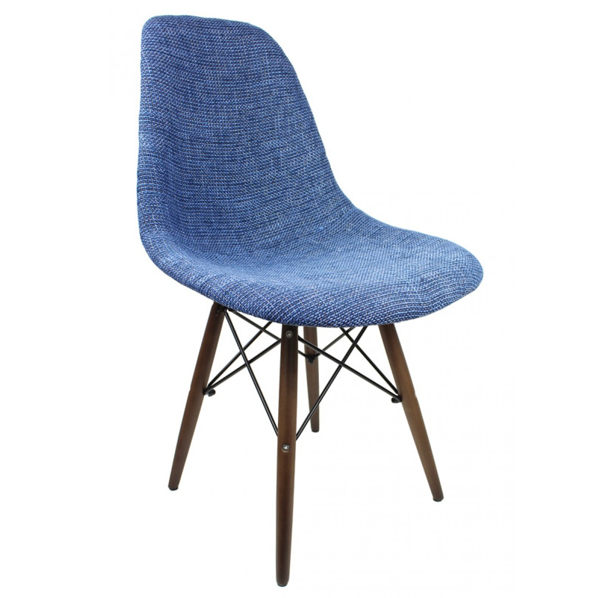 Blue Fabric Upholstered Accent Chair With Dark Walnut Wood Eiffel Legs
