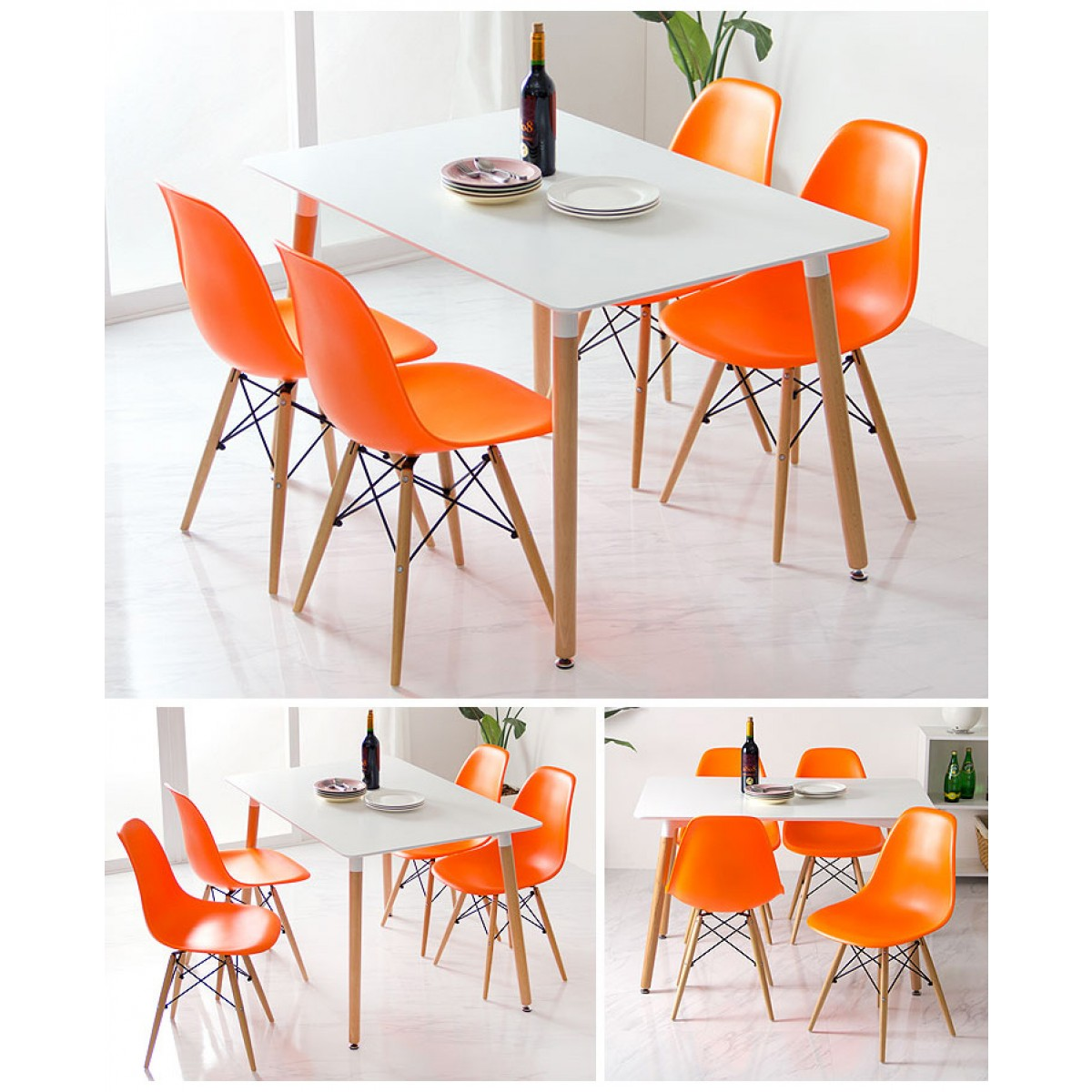 Dsw Molded Orange Plastic Dining Shell Chair With Dark Walnut Wood Eiffel Legs