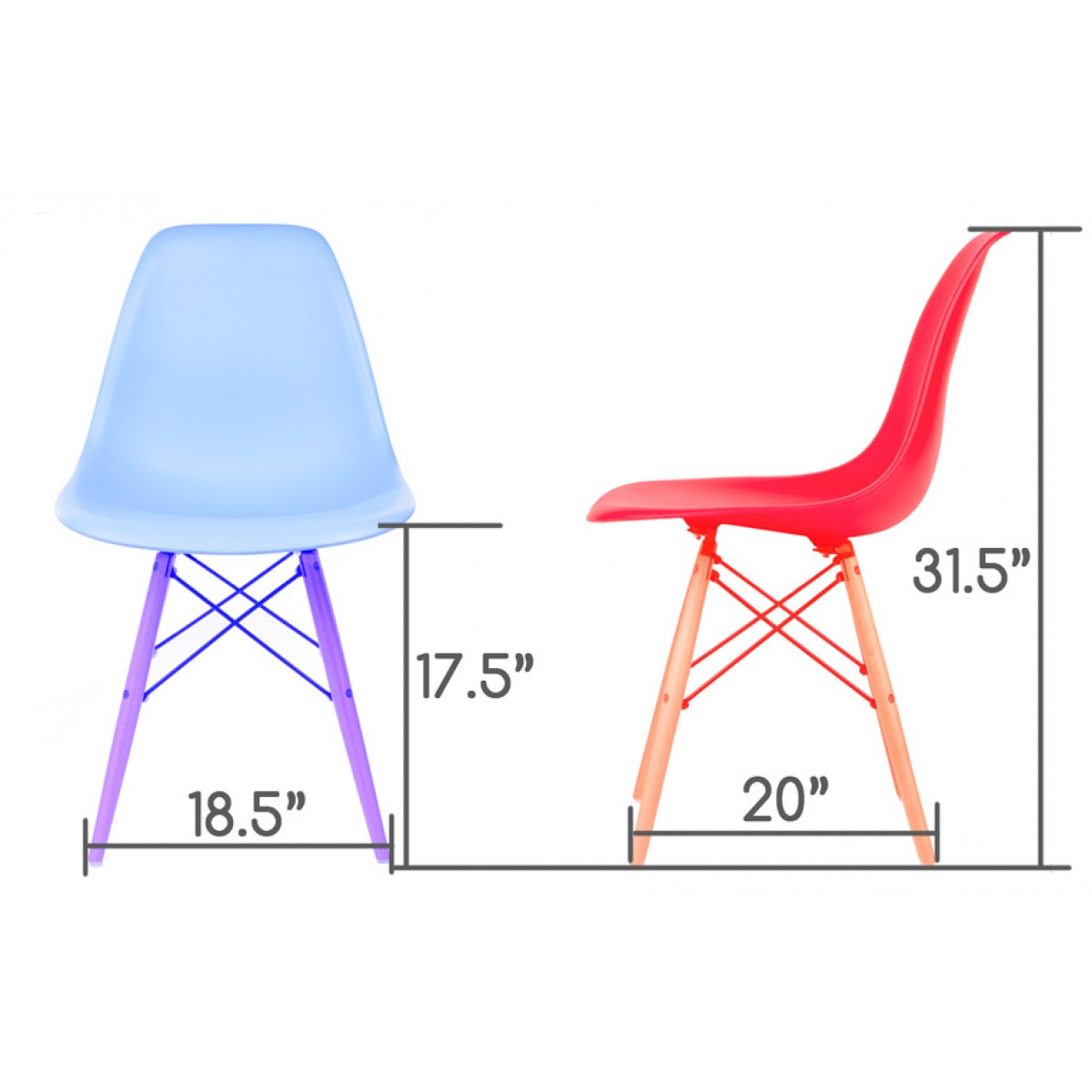 Eames Style Dsw Molded Plastic Dining