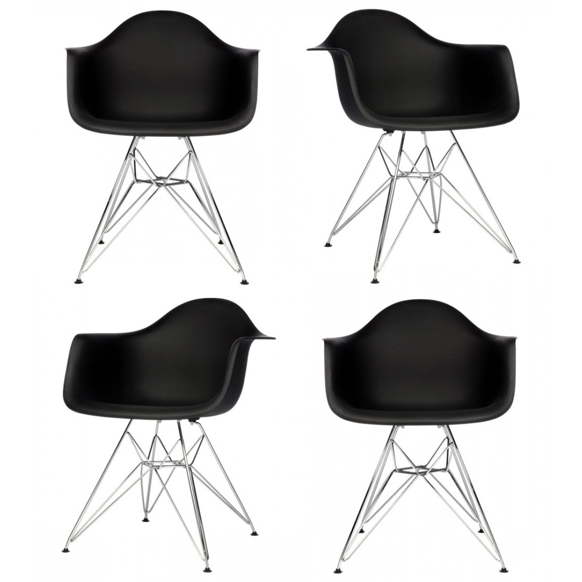 set of 4 eames style dar molded black plastic dining armchair with