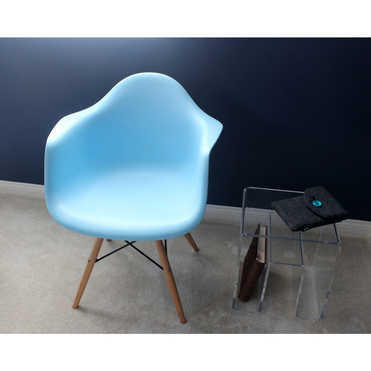 DAW Molded Light Blue Plastic Dining Armchair With Wood Eiffel Legs