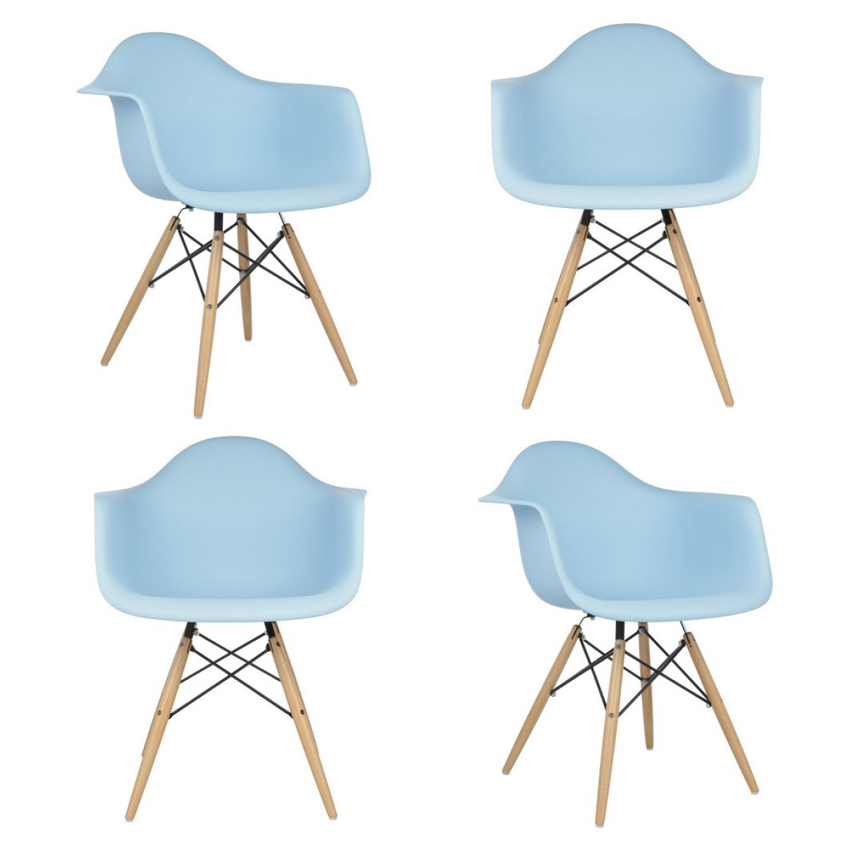 Set Of 4 DAW Molded Light Blue Plastic Dining Armchair With Wood Eiffel Legs