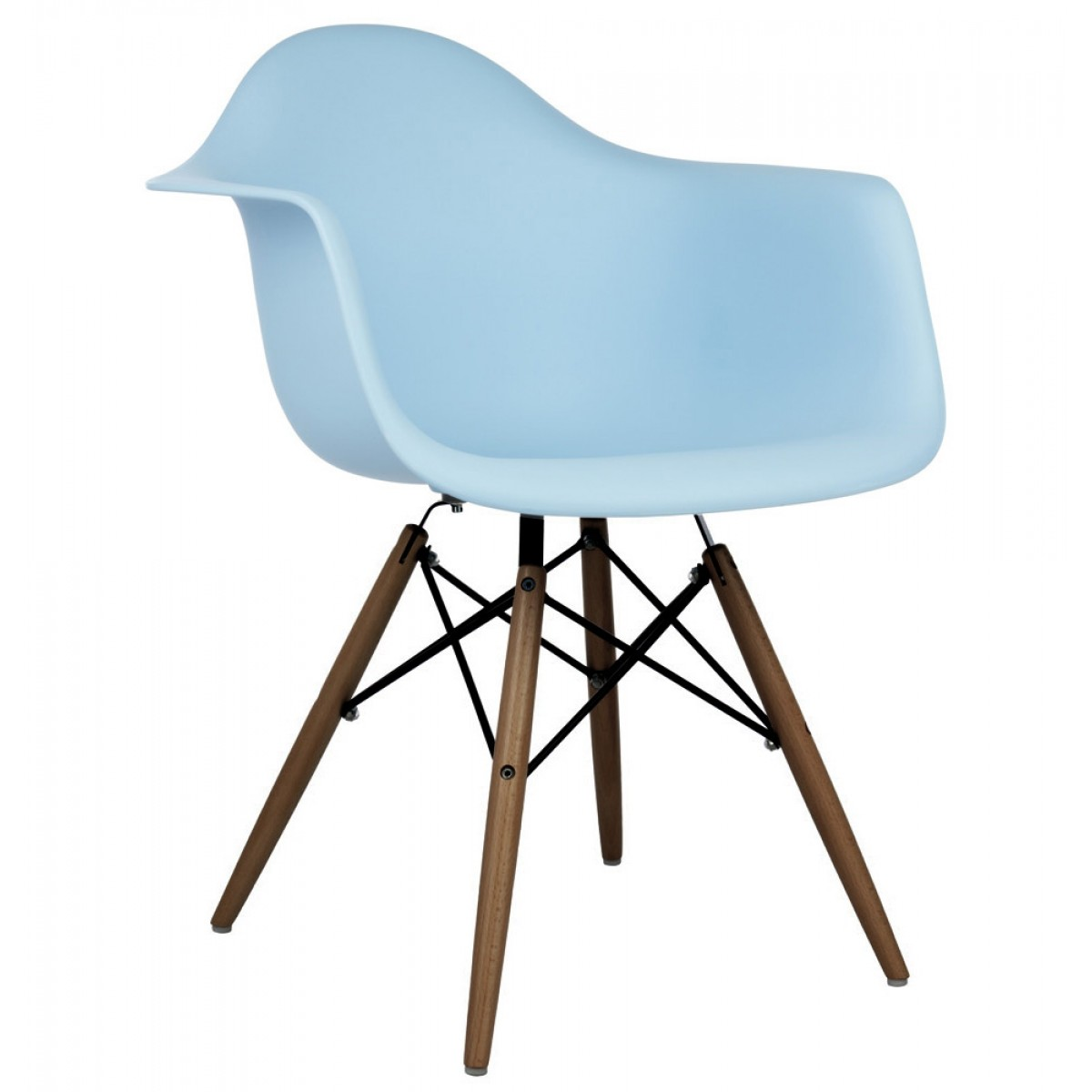 DAW Molded Light Blue Plastic Dining Armchair With Dark Walnut Wood Eiffel  Legs
