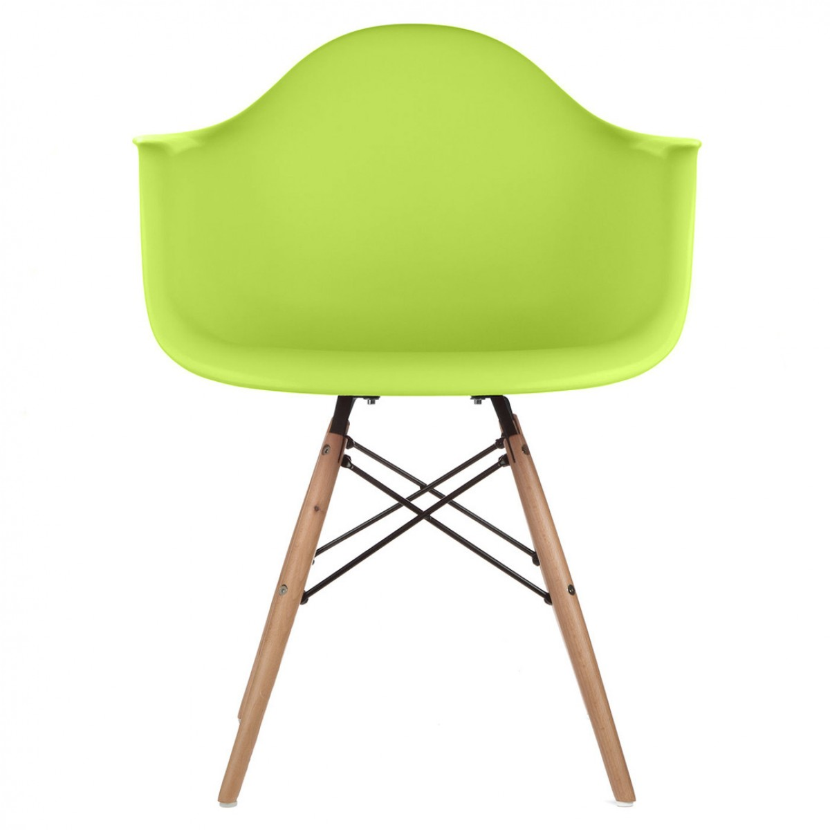 eames style daw molded lime green plastic dining armchair with wood