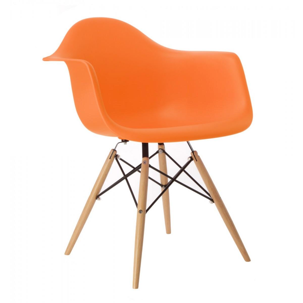 Elegant DAW Molded Orange Plastic Dining Armchair With Wood Eiffel Legs