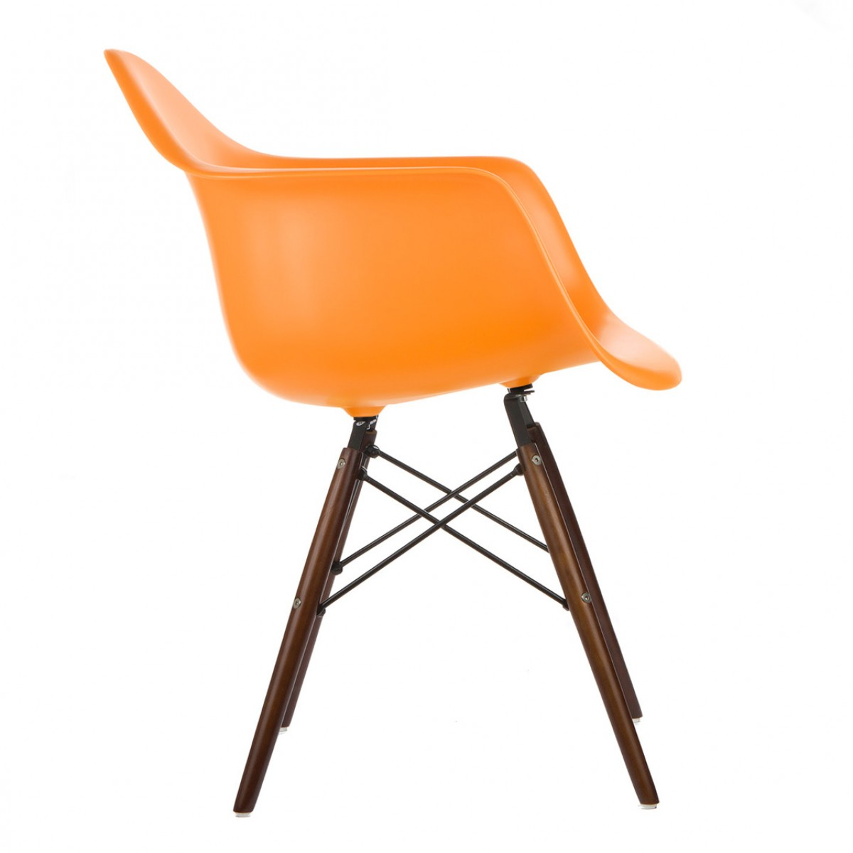 Eames Style Daw Molded Orange Plastic Dining Armchair With