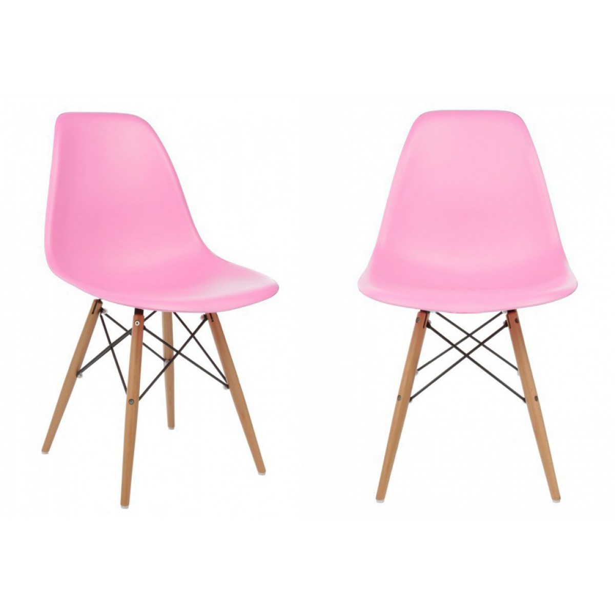 Set Of 2 DSW Molded Pink Plastic Dining Shell Chair With Wood Eiffel Legs