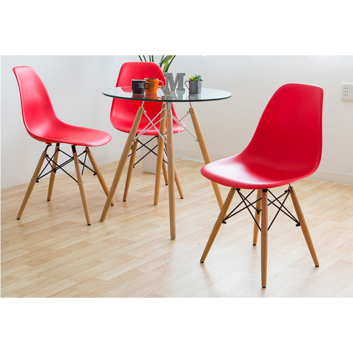 Eames Style Dsw Molded Red Plastic Dining Shell Chair With Wood Eiffel Legs