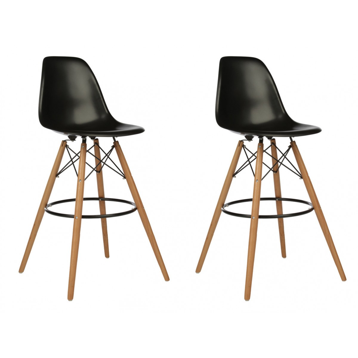 Set Of 2 Eames Style Dsw Black Plastic 30 Inch Bar Stool With Wood