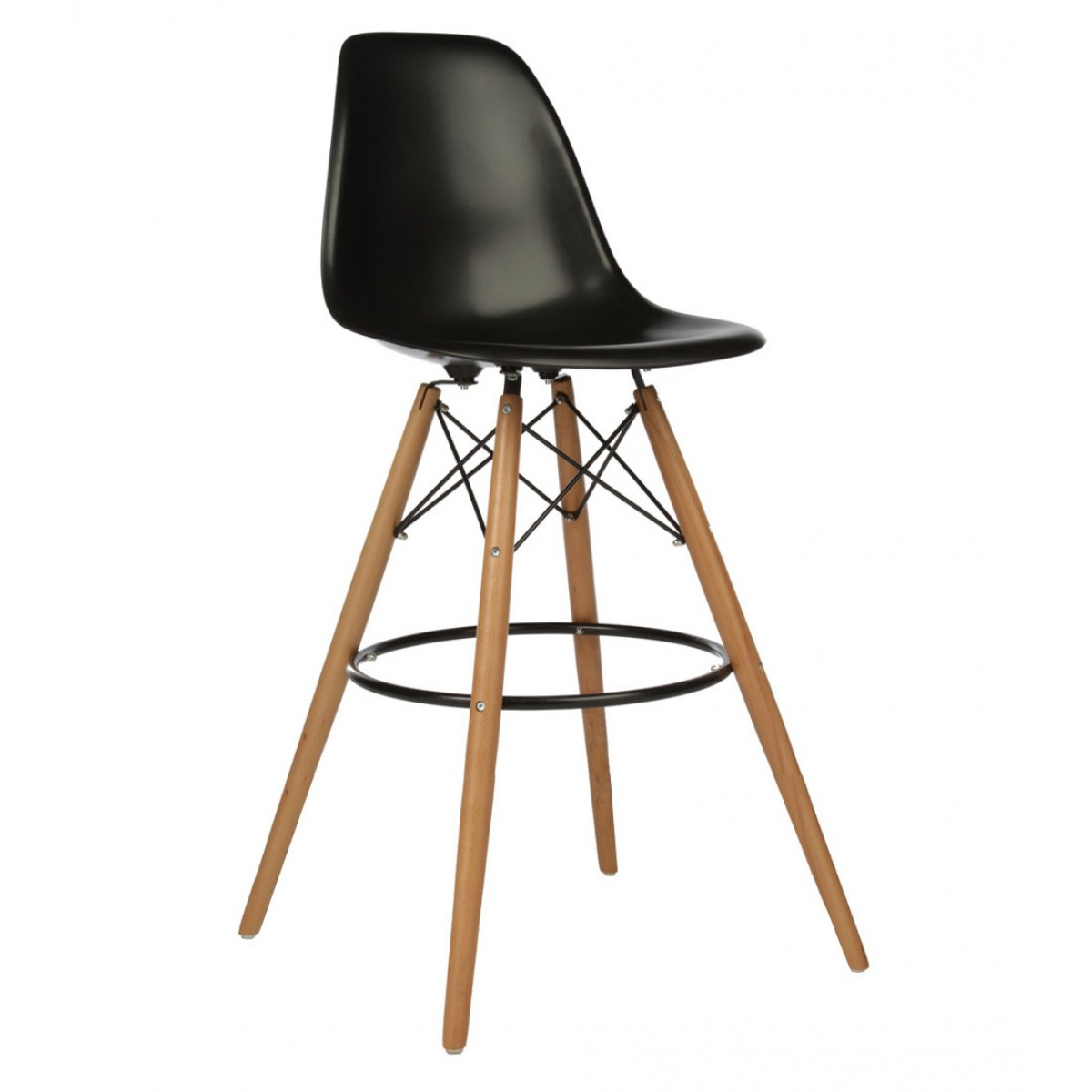 Wondrous Set Of 2 30 Inch Dsw Black Plastic Bar Stool With Wood Eiffel Legs Pabps2019 Chair Design Images Pabps2019Com