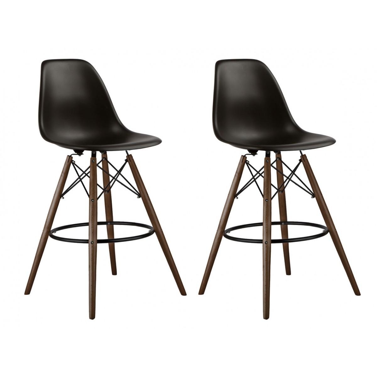 Strange Set Of 2 Black Dsw 26 Inch Counter Stool With Dark Walnut Wood Eiffel Legs Lamtechconsult Wood Chair Design Ideas Lamtechconsultcom