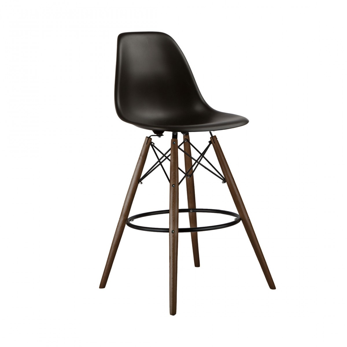 set of 2 black eames style dsw 26 inch counter stool with dark