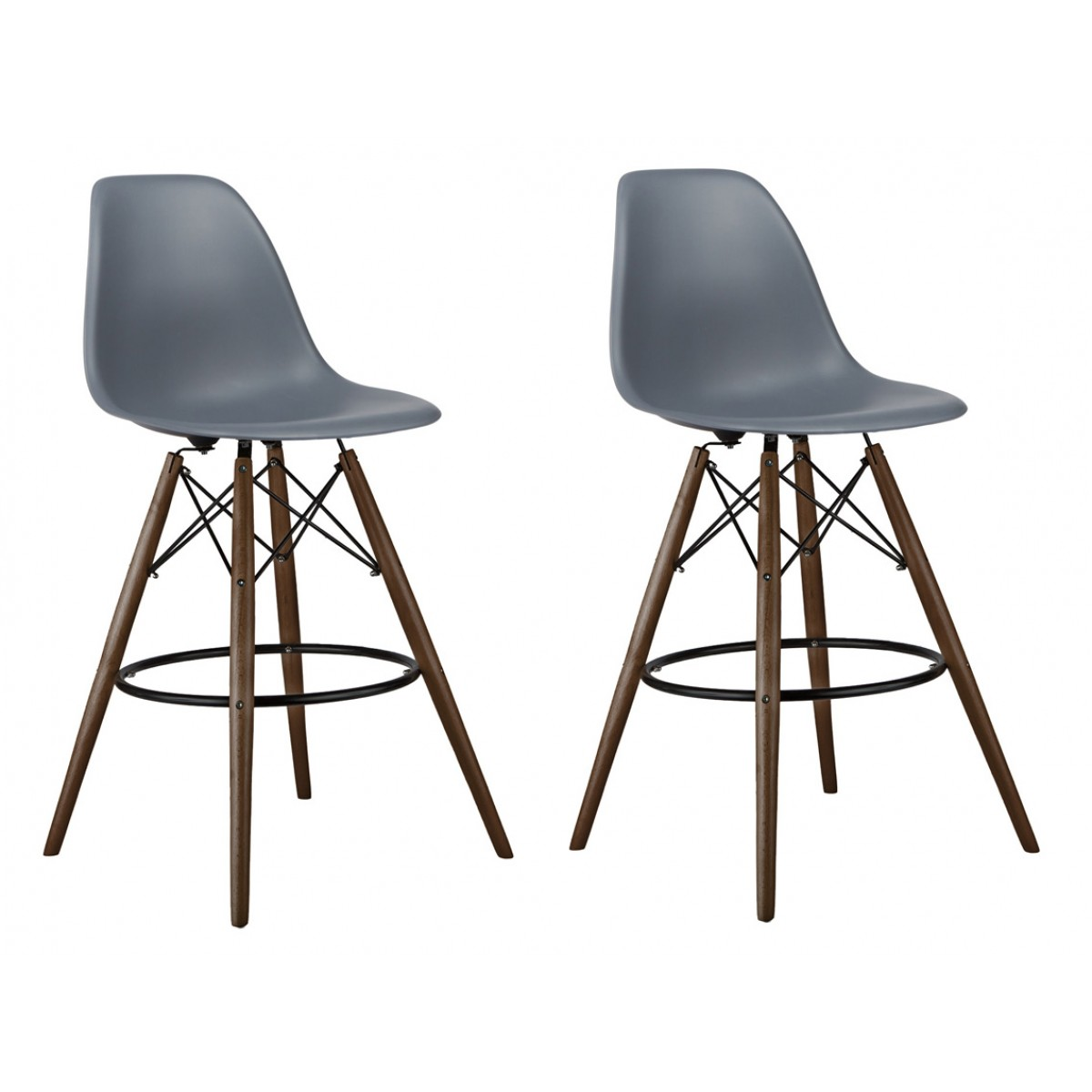 Set Of 2 Dark Gray Eames Style Dsw 26 Inch Counter Stool With Dark