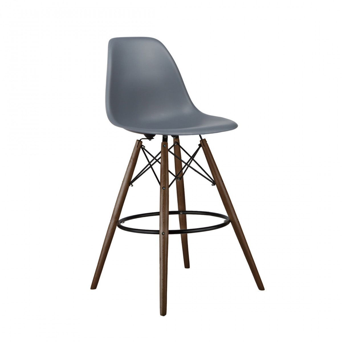 Set Of 2 Dark Gray Eames Style Dsw 26 Inch Counter Stool