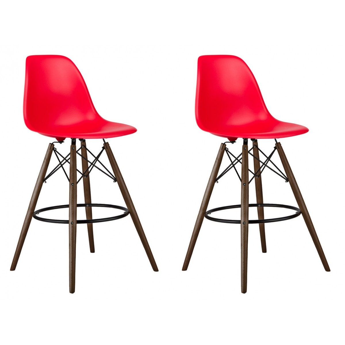 Set Of 2 Red Eames Style Dsw 26 Inch Counter Stool With Dark Walnut
