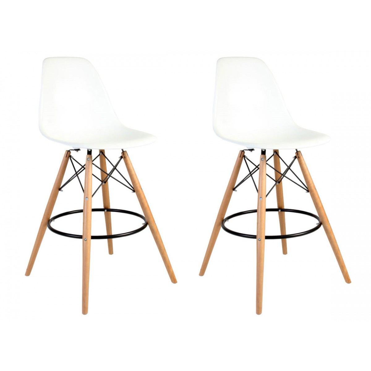 Set Of 2 Eames Style Dsw White Plastic 26 Inch Counter Stool With