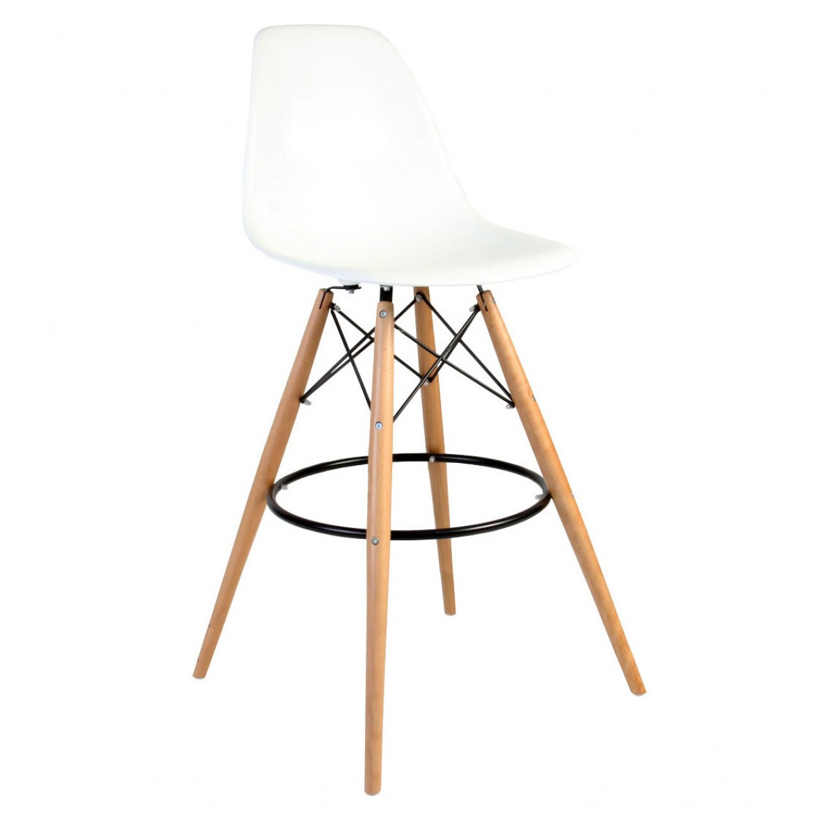 Superbe Set Of 2 30 Inch DSW White Plastic Bar Stool With Wood Eiffel Legs