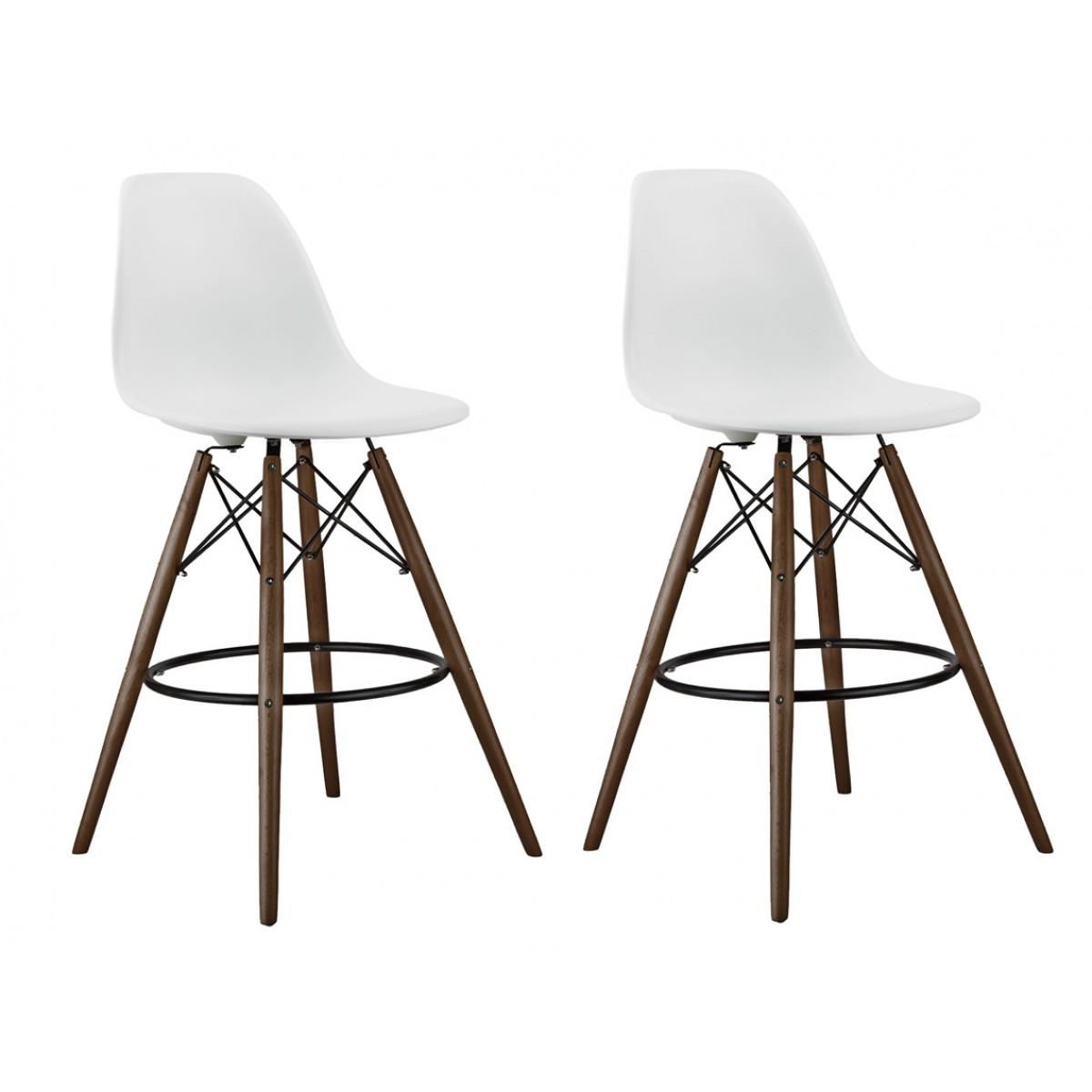 Set Of 2 White Eames Style Dsw Stool With Dark Walnut Wood Eiffel Legs