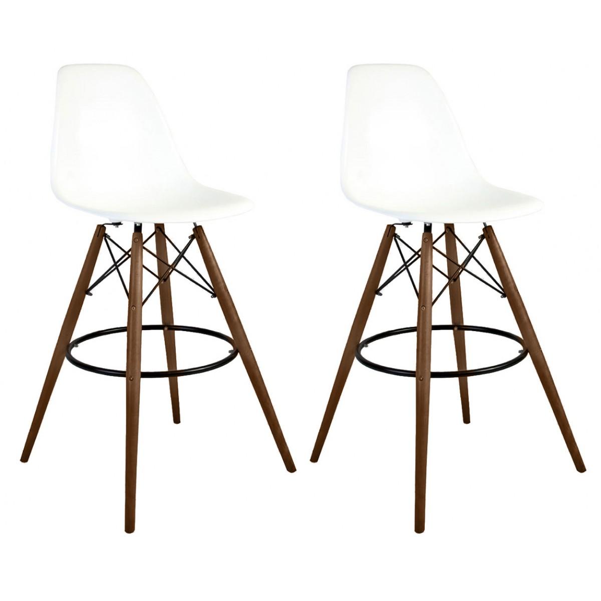 Marvelous Set Of 2 30 Inch Dsw White Plastic Bar Stool With Dark Walnut Eiffel Legs Andrewgaddart Wooden Chair Designs For Living Room Andrewgaddartcom