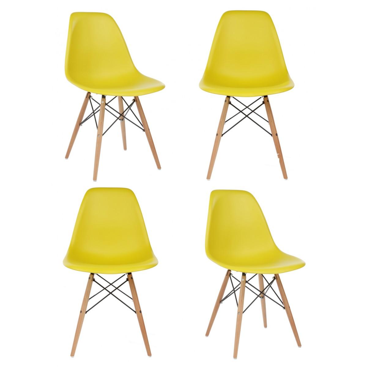 Eames Style Dsw Dark Yellow Beech Leg Retro Eiffel